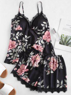 Satin-Pyjama-Set Mit Blumenverzierung - Schwarz M