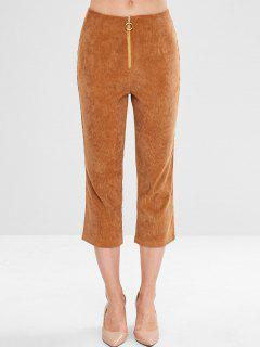 Front Zip Corduroy Capri Pants - Light Brown Xl