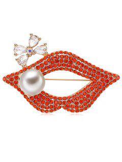 Artificial Pearl Lip Design Rhinestone Brooch - Bean Red