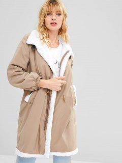 Fleece Tunnelzug Lose Mantel - Helles Khaki L
