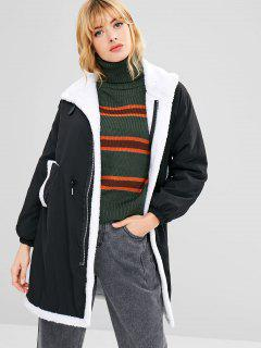 Fleece Drawstring Waist Loose Coat - Black M