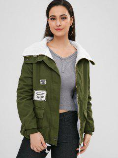 Faux Fur Lined Twill Military Jacket - Army Green M
