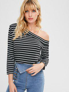Striped One Shoulder Top - Black M