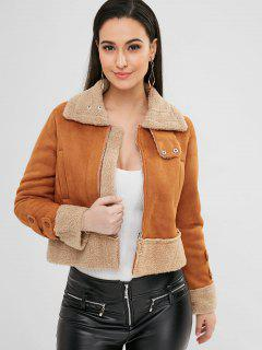 Zip Up Faux Suede Boxy Jacket - Light Brown L