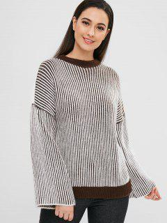 Drop Shoulder Slit Stripes Sweater - Coffee