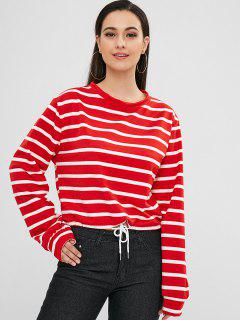 Drawstring Stripe Loose Sweatshirt - Red M