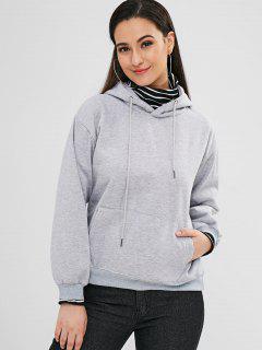 Pocket Fleece Pullover Hoodie - Gray S
