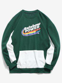 Rainbow Print Panel Sweatshirt - Green L
