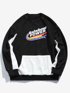 Rainbow Print Panel Sweatshirt - Black L
