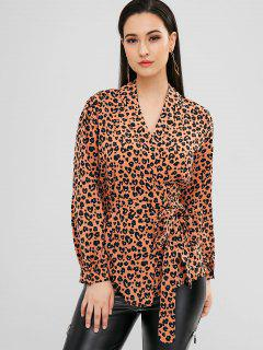 Leopard Wrap Top - Orange Pink L