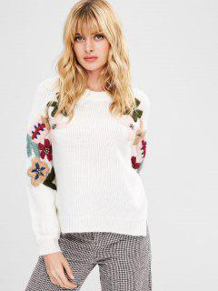 Floral Perlen High Low Pullover - Weiß