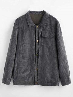 Button Up Chest Pocket Coat - Dark Gray L