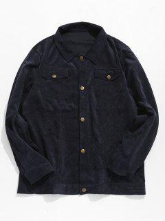 Button Up Turn Down Collar Coat - Cadetblue L