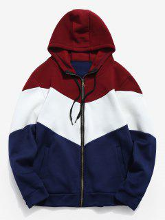Panel Zip Up Hooded Coat - Lava Red Xs