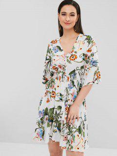 Robe Longueur à Mollet Florale Avec Bouton Volant - Blanc S