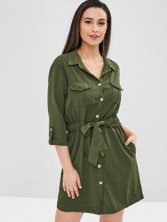Belted Pocket Shirt Dress - Army Green L