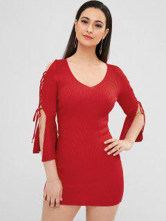 Lace-up Sheath Knit Dress - Red
