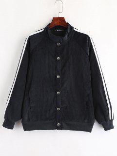 ZAFUL Snap Button Stripes Corduroy Jacket - Dark Slate Blue L