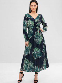 Vestido Maxi Estampado De Hojas - Multicolor L