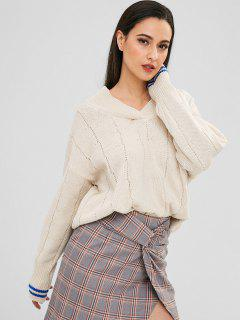 Striped Cold Shoulder Sweater - Warm White