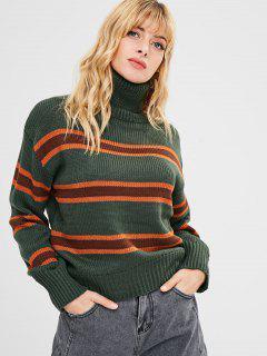 Multicolored Striped Turtleneck Sweater - Multi
