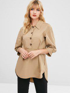 Half-button Pleated Tunic Top - Camel Brown L