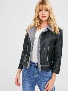 Faux Shearling Leather Jacket - Black M