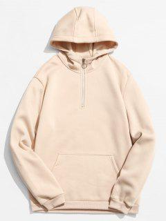 Half Zip Front Pocket Hoodie - Apricot L