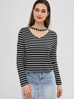 Striped Cutout Choker Top - Black M