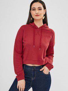 Drop Shoulders Embroidered Hoodie - Red Wine L