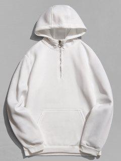 Half Zip Front Pocket Hoodie - White L