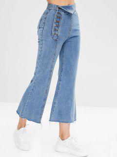Button Fly Frayed Bell Bottom Jeans - Denim Blue L