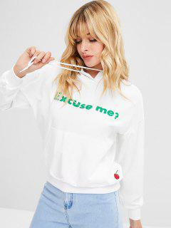 Letter Cherry Patch Hoodie - White