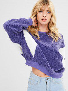Fluffy Two Tone Batwing Sweatshirt - Purple