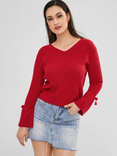 Pullover Mit Schnürung Und V-Ausschnitt - Lava Rot