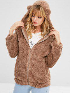 Zipper Fluffy Hooded Coat - Brown