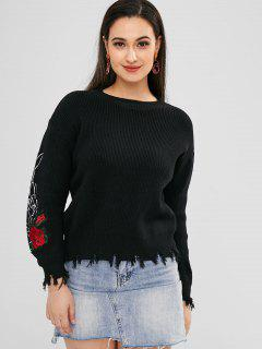 Rose Embroidered Frayed Sweater - Black
