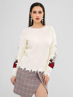 Suéter Deshilachado Bordado Rosa - Blanco Cálido