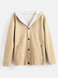 Faux Shearling Hooded Coat - Khaki M