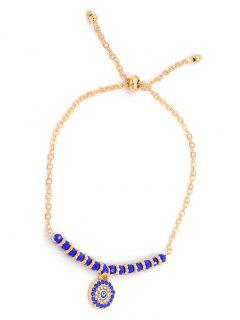 Colored Rhinestone Inlaid Rounded Chain Bracelet - Gold
