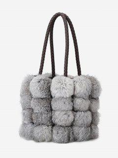Faux Fur String Design Handbag - Ash Gray