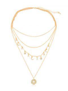 Rhinestone Star Moon Multi Layers Necklace - Gold