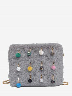 Ball Faux Fur Chain Crossbody Bag - Ash Gray