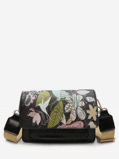 Flower Print PU Leather Crossbody Bag - Black