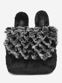Animal Shape Faux Fur Crossbody Bag - Black