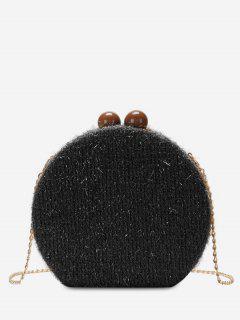 Round Shape Hasp Chain Crossbody Bag - Black