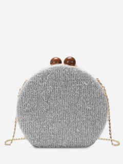 Round Shape Hasp Chain Crossbody Bag - Silver