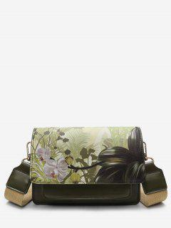 Flower Print PU Leather Crossbody Bag - Sea Green