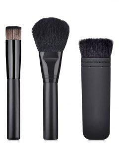 3 Pcs Synthetic Fiber Hair Powder Blush Makeup Brush Set - Black