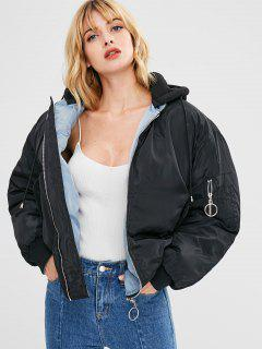 Zip Up Hooded Puffer Jacket - Black L